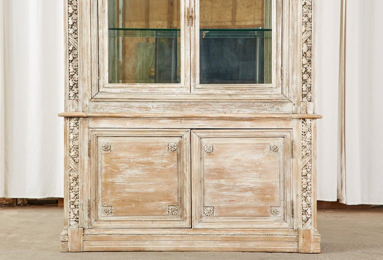 20th Century French Neoclassical Louis XVI Style Pine Bookcase Display Cabinet For Sale