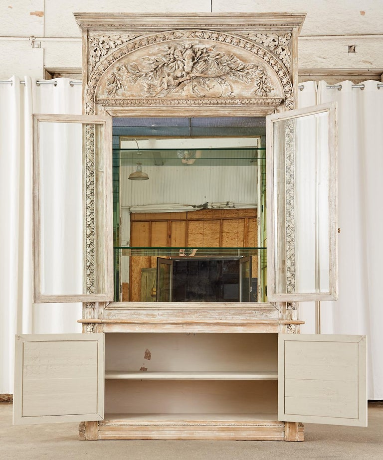French Neoclassical Louis XVI Style Pine Bookcase Display Cabinet For Sale 1