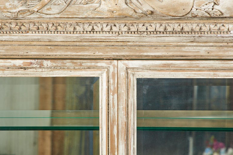 French Neoclassical Louis XVI Style Pine Bookcase Display Cabinet For Sale 2