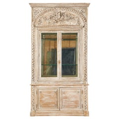 French Neoclassical Louis XVI Style Pine Bookcase Display Cabinet