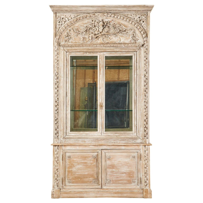 French Neoclassical Louis XVI Style Pine Bookcase Display Cabinet For Sale