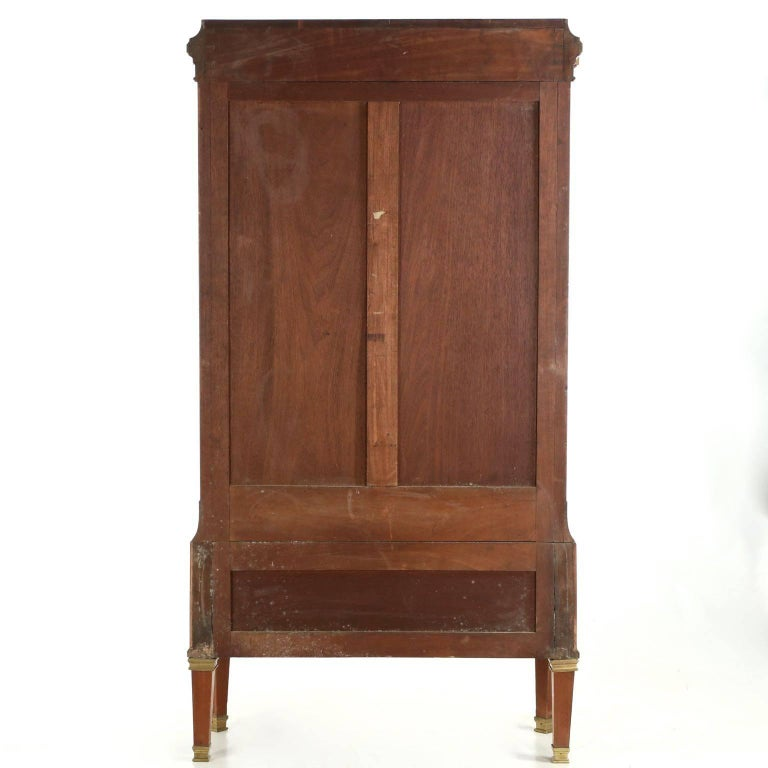 Louis XVI French Neoclassical Mahogany and Leather Antique Chest of Drawers Cartonnier For Sale