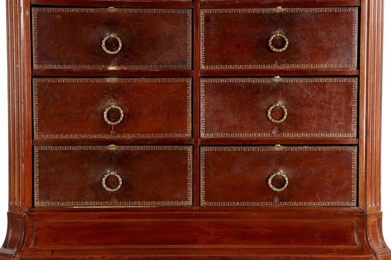 French Neoclassical Mahogany and Leather Antique Chest of Drawers Cartonnier For Sale 1
