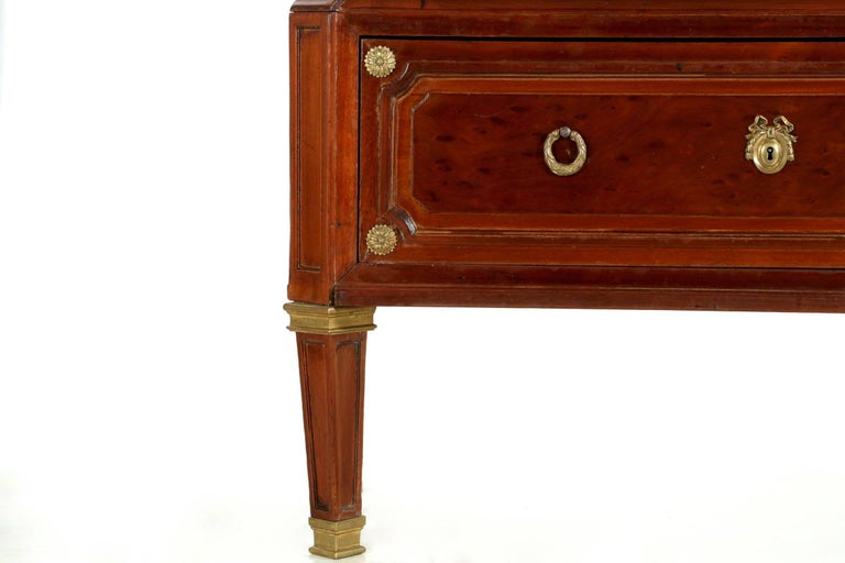 French Neoclassical Mahogany and Leather Antique Chest of Drawers Cartonnier For Sale 3