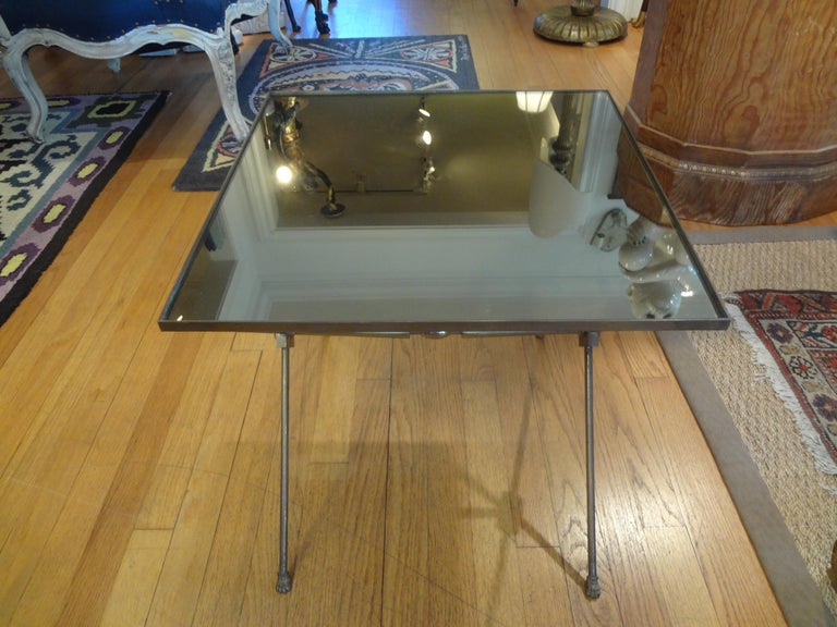 French Neoclassical Maison Jansen Style Brass Gueridon with Mirrored Top For Sale 1