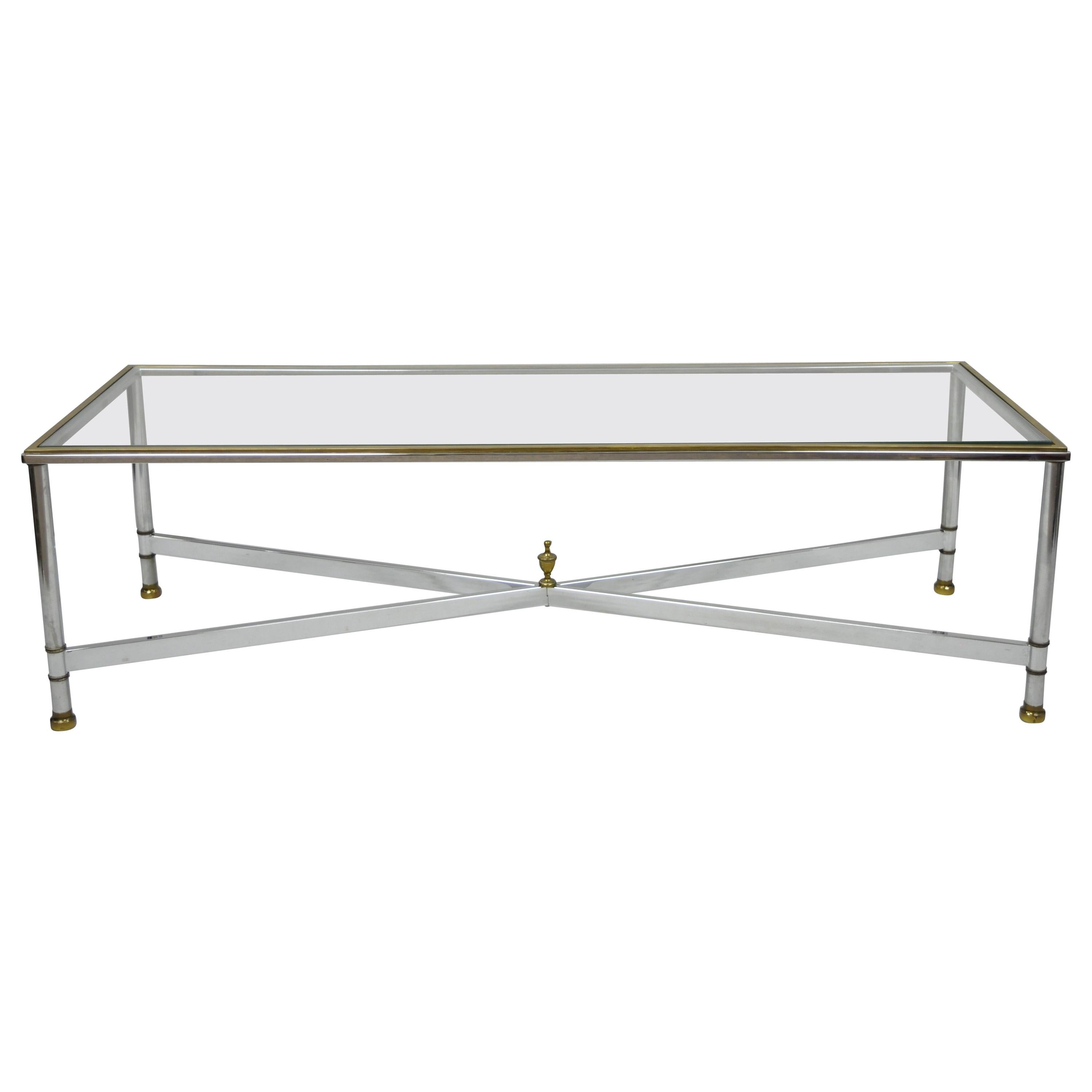 French Neoclassical Maison Jansen Style Steel & Brass Rectangular Coffee Table