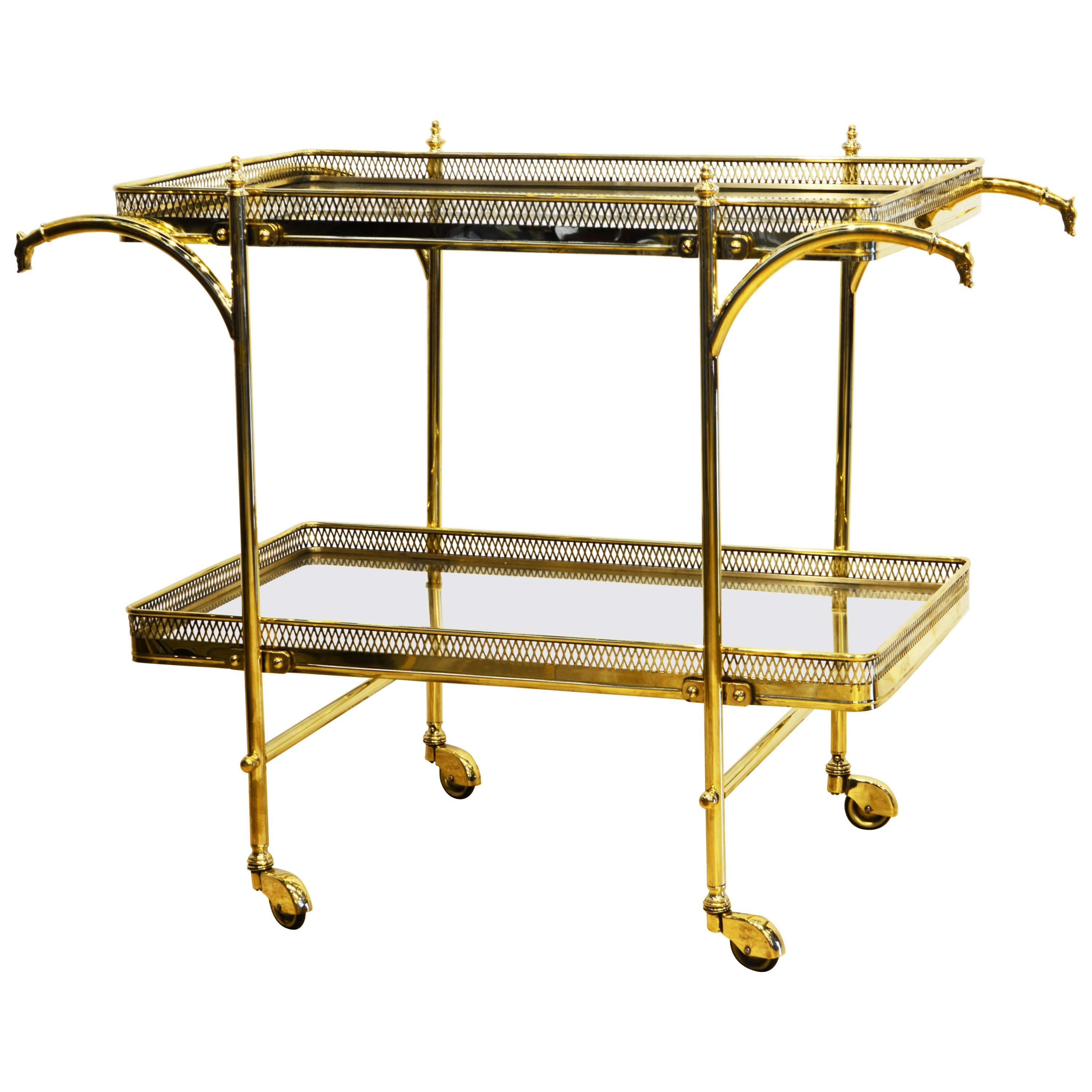 French Neoclassical Maison Jansen Style Two Tier Brass Galleried Serving Cart