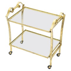 French Neoclassical Maison Ramsay Gilded Iron Bar Cart, 1940s