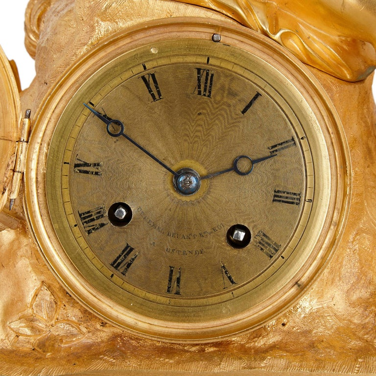 Charles X French Neoclassical Malachite and Gilt Bronze Mantel Clock For Sale