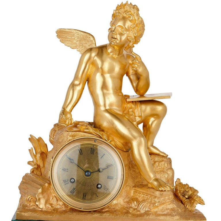 French Neoclassical Malachite and Gilt Bronze Mantel Clock In Good Condition For Sale In London, GB