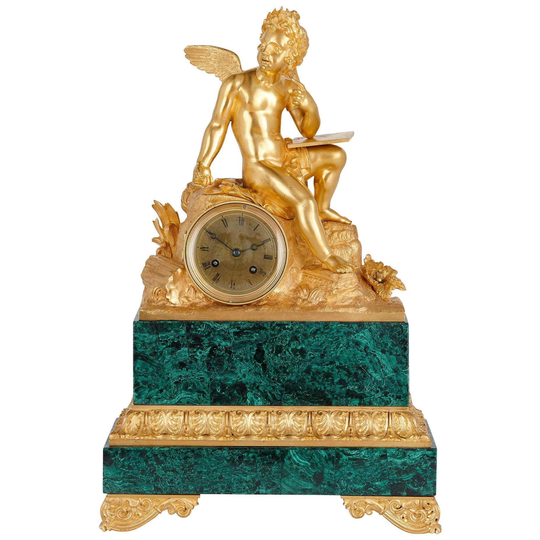 French Neoclassical Malachite and Gilt Bronze Mantel Clock