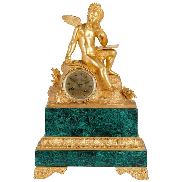 French Neoclassical Malachite and Gilt Bronze Mantel Clock For Sale