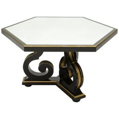 French Neoclassical Maurice Hirsch Black Gilded Mirror Table, 1970s