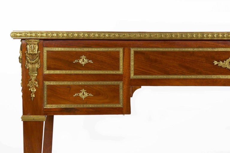 French Neoclassical Ormolu-Mounted Mahogany Bureau Plat Antique Writing Desk For Sale 3