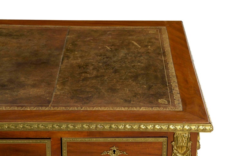 French Neoclassical Ormolu-Mounted Mahogany Bureau Plat Antique Writing Desk For Sale 4