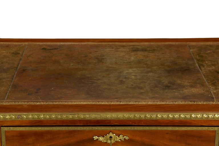 French Neoclassical Ormolu-Mounted Mahogany Bureau Plat Antique Writing Desk For Sale 5