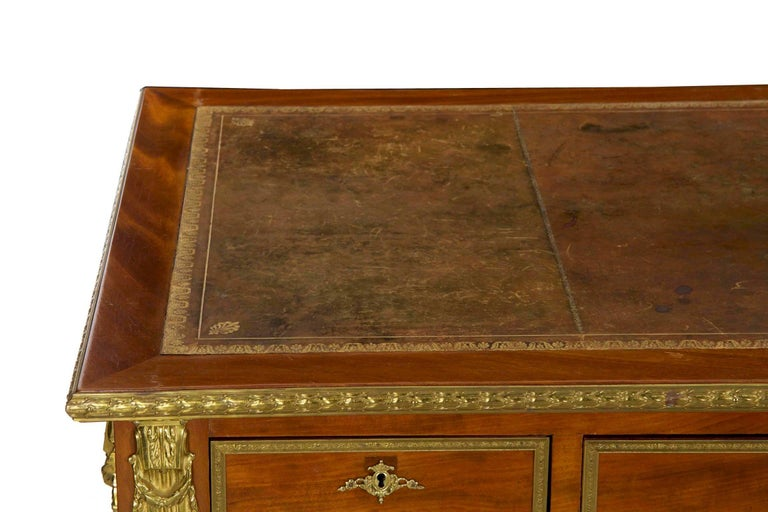 French Neoclassical Ormolu-Mounted Mahogany Bureau Plat Antique Writing Desk For Sale 6