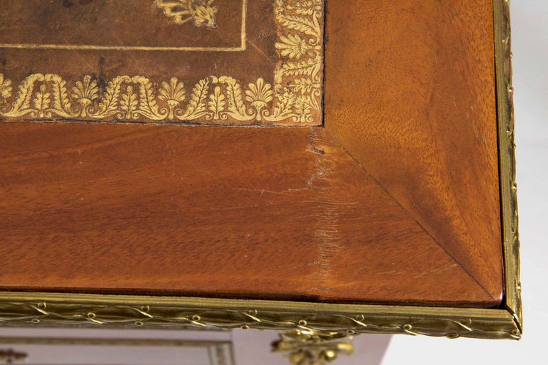 French Neoclassical Ormolu-Mounted Mahogany Bureau Plat Antique Writing Desk For Sale 8