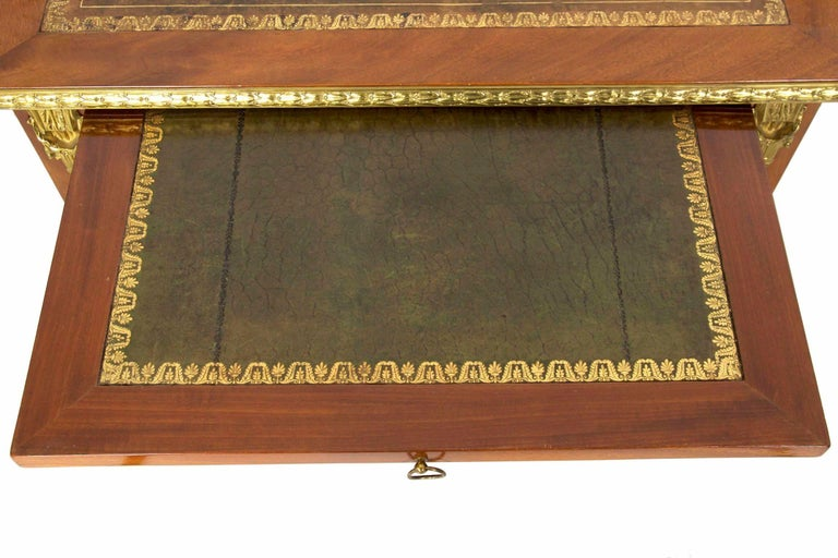 French Neoclassical Ormolu-Mounted Mahogany Bureau Plat Antique Writing Desk For Sale 9