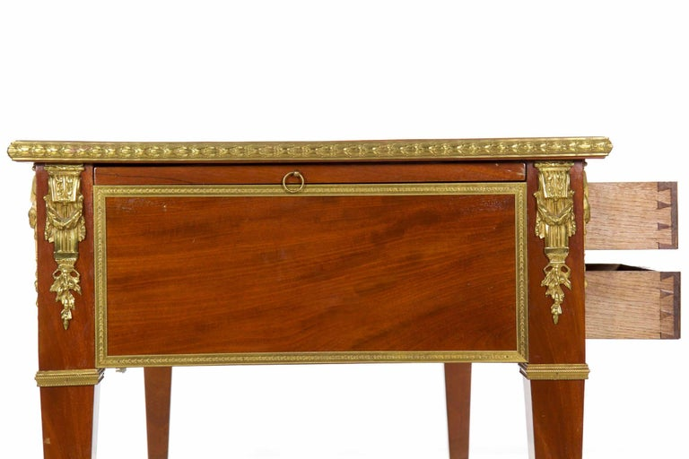 French Neoclassical Ormolu-Mounted Mahogany Bureau Plat Antique Writing Desk For Sale 11