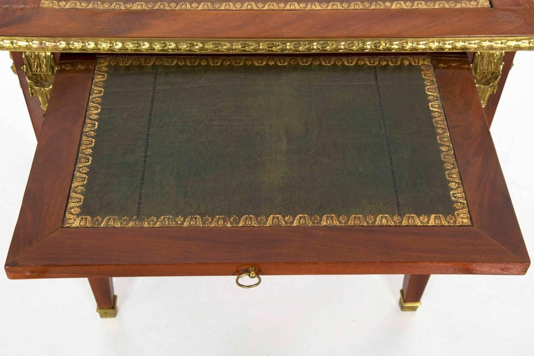 French Neoclassical Ormolu-Mounted Mahogany Bureau Plat Antique Writing Desk For Sale 12