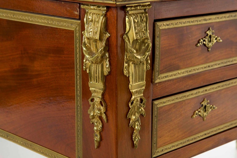 French Neoclassical Ormolu-Mounted Mahogany Bureau Plat Antique Writing Desk For Sale 13