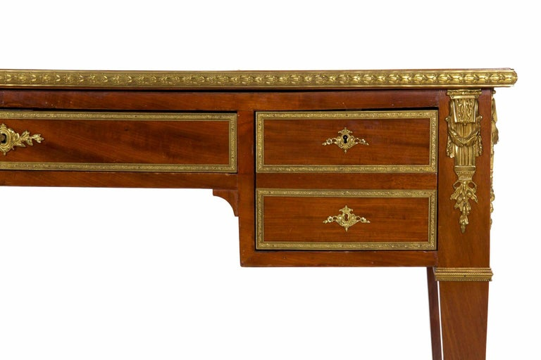 Louis XVI French Neoclassical Ormolu-Mounted Mahogany Bureau Plat Antique Writing Desk For Sale