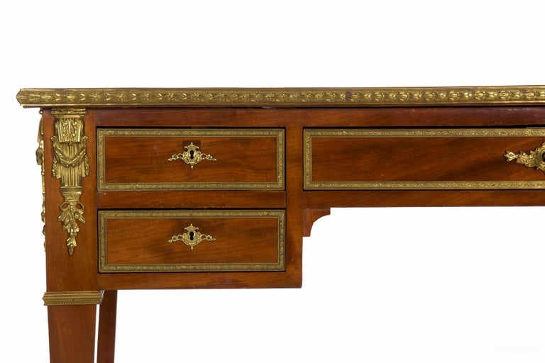 Gilt French Neoclassical Ormolu-Mounted Mahogany Bureau Plat Antique Writing Desk For Sale