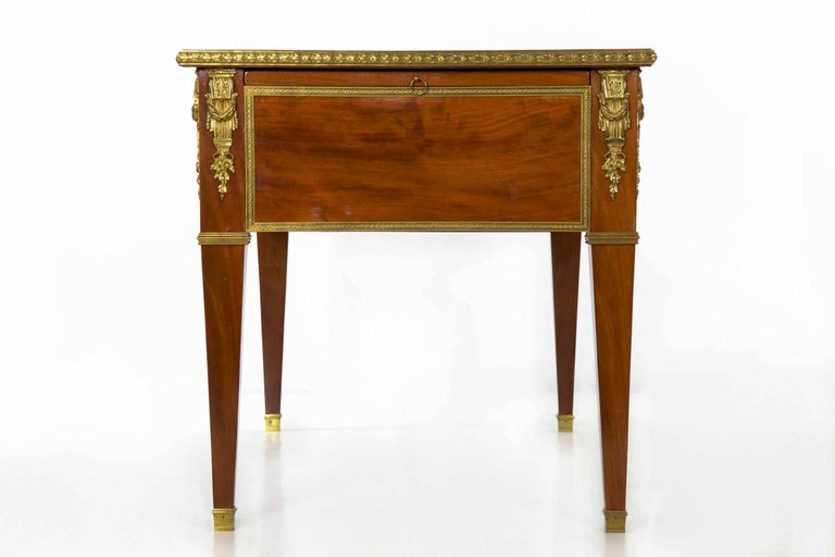 19th Century French Neoclassical Ormolu-Mounted Mahogany Bureau Plat Antique Writing Desk For Sale