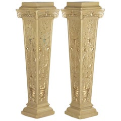 French Neoclassical Painted Plaster Pedestals, 1940s