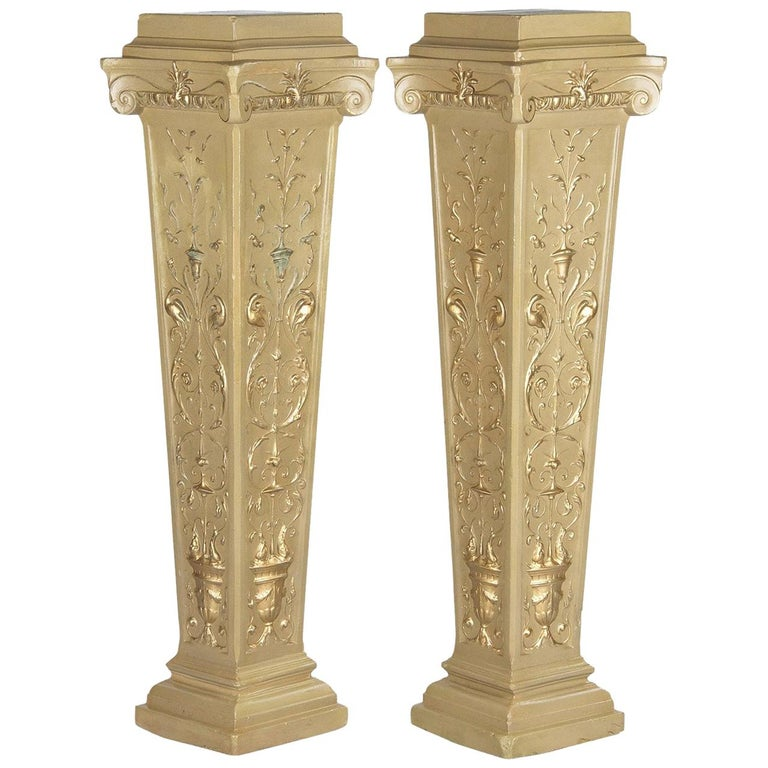 French Neoclassical Painted Plaster Pedestals, 1940s For Sale
