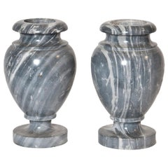 French Neoclassical Pair of Grey Marble Urns
