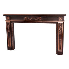 French Neoclassical Parcel-Gilt Mahogany Fireplace Mantel, 20th Century