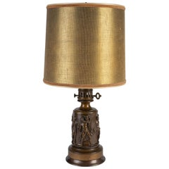French Neoclassical Patinated Bronze Oil Lamp