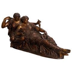 French Neoclassical Recumbent Figural Bronze Portrait Sculpture, circa 1890