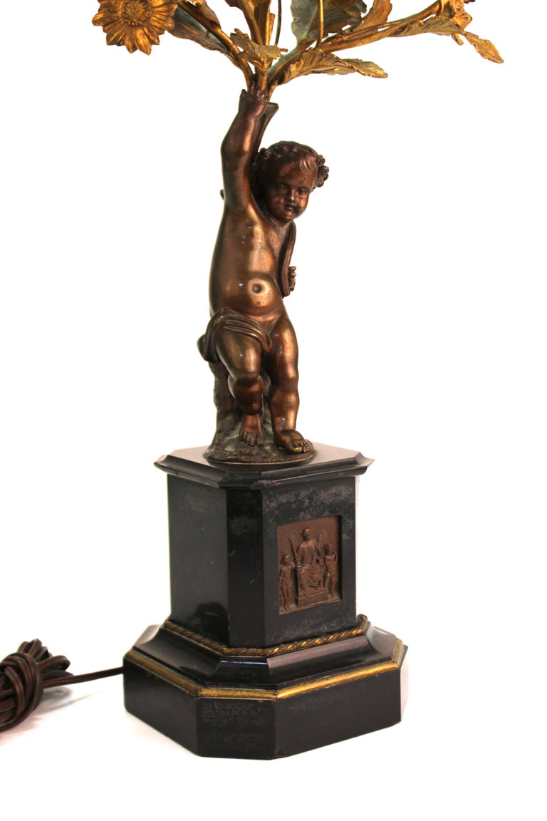 French Neoclassical Revival Bronze Table Lamps with Putti For Sale 10