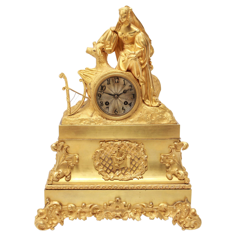 French Neoclassical Revival Gilt-Bronze Ormolu Figural Mantel Clock