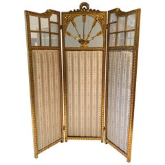 French Neoclassical Revival Giltwood Mirror and Upholstered 3-Panel Screen