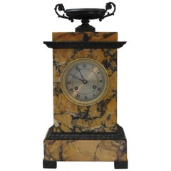 French Neoclassical Sienna Marble and Bronze Mantel Clock