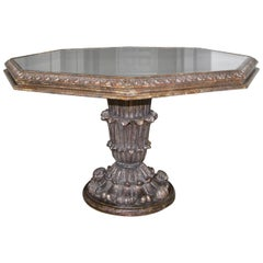 French Neoclassical Silver Giltwood Hexagon Centre Table