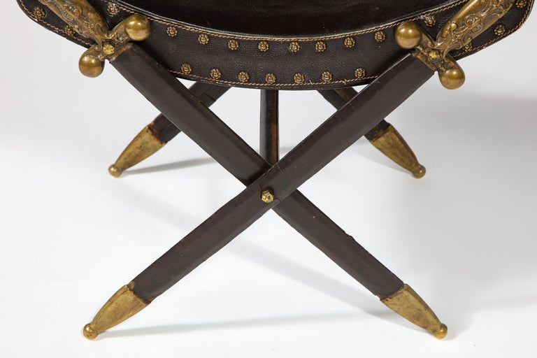 French Neoclassical Steel, Brass, and Leather Crossed Swords Bench For Sale 2