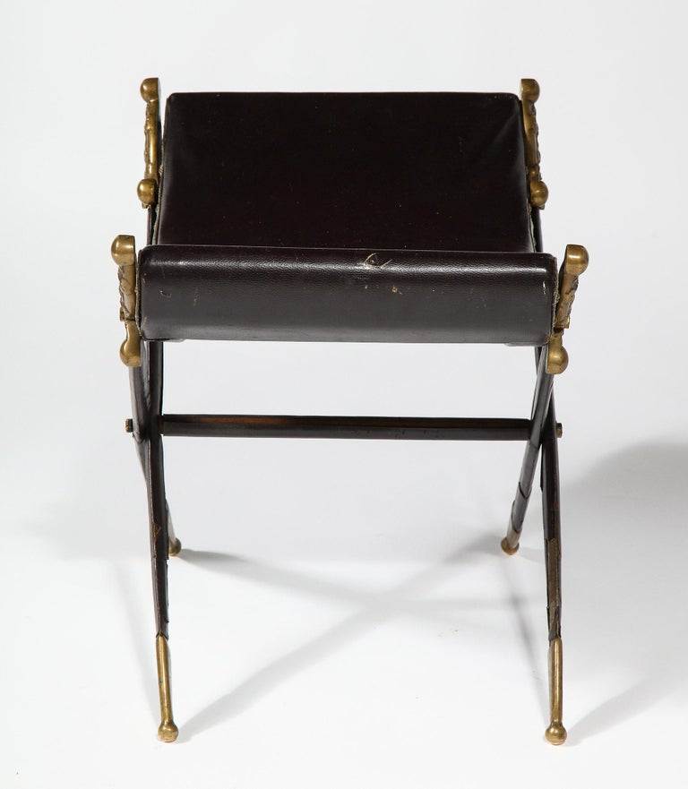 French Neoclassical Steel, Brass, and Leather Crossed Swords Bench For Sale 3