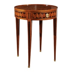 French Neoclassical Style 19th Century Bouillotte Game Table with Marquetry