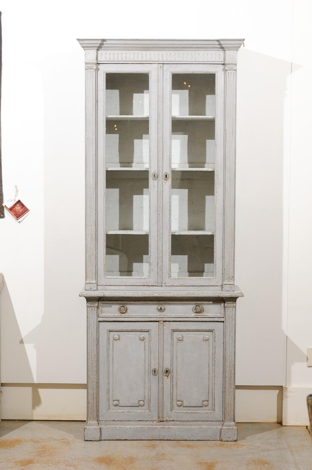 French Neoclassical Style 19th Century Grey Painted