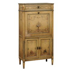 French Neoclassical Style 19th Century Secrétaire with Arabesques and Flowers