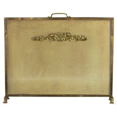 French Neoclassical Style Brass and Mesh Fireplace or Fire Screen