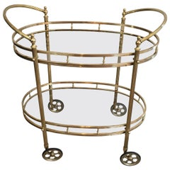French Neoclassical Style Brass Oval Bar Cart