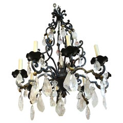 French Neoclassical Style Bronze Chandelier with Rock Crystal Quartz Prisms