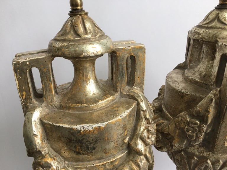 French Neoclassical Style Carved Silver Giltwood and Marble Draped Urn Lamps For Sale 5