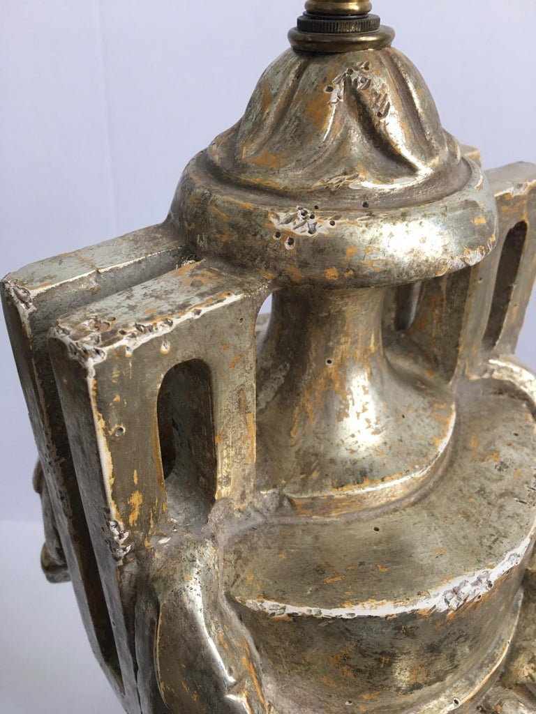 French Neoclassical Style Carved Silver Giltwood and Marble Draped Urn Lamps For Sale 8